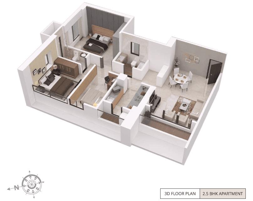 ParkMist - 2 bhk 3D Floor Plan
