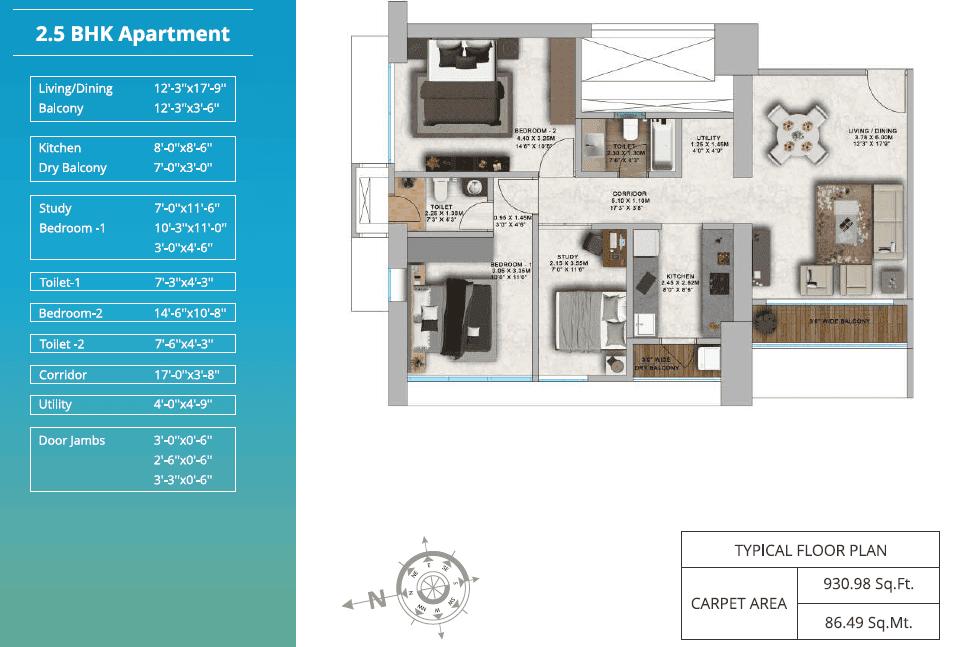 ParkMist - 2bhk Typical Floor Plan