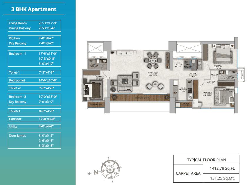ParkMist - 3 bhk Typical Floor Plan